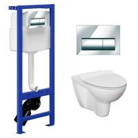 Комплект: Инсталляционная система Hi-Tec + кнопка Presto + подвесной унитаз Parva Clean On и сиденьем дюропласт SoftClose