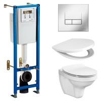 Комплект: Инсталляционная система Cersanit TARGET с кнопкой TARGET хром, подвесным унитазом DELFI и сиденьем SoftClose полипропилен, 931
