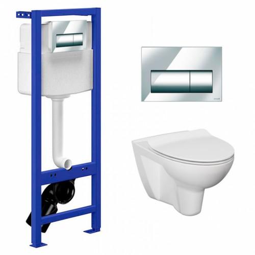 Комплект: Инсталляционный модуль Hi-Tec с кнопкой, чашей унитаза Parva Clean On и сиденьем Cersanit (UN508-005)