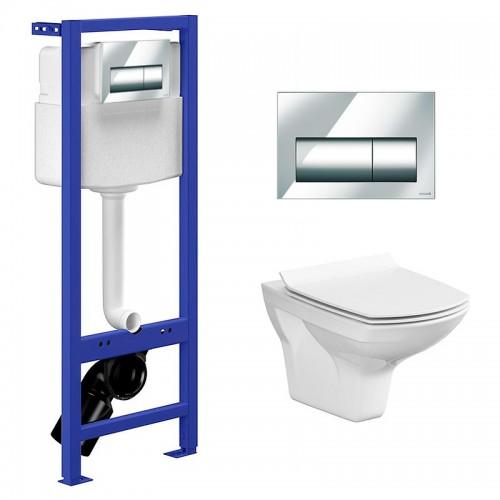 Комплект: Инсталляционная система Cersanit Hi-Tec с кнопкой Presto, подвесным унитазом Carina CleanOn и сиденьем дюропласт SoftClose