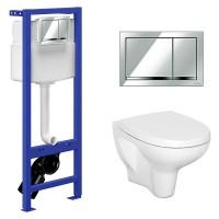 Комплект: Инсталляционная система Cersanit Hi-Tec с кнопкой, подвесным унитазом Arteco и сиденьем SoftClose, SZWZ1003882898