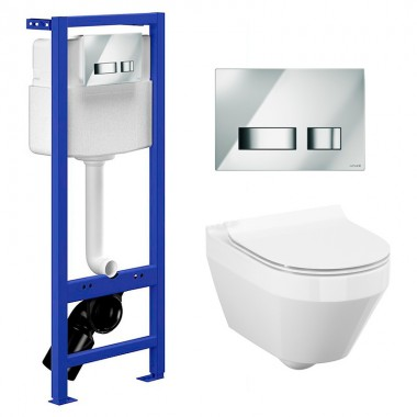 Комплект: Инсталляционная система Cersanit Hi-Tec с кнопкой, подвесным унитазом Crea CleanOn и сиденьем Slim SoftClose, SZWZ1003902898