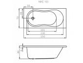 Ванна Cersanit Nike 150 X 70 прямоугольная 00305