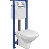 Комплект: Инсталляционная система Cersanit Aqua 02 с кнопкой Presto, подвесным унитазом CARINA CLEAN ON и сиденьем CARINA