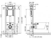 Комплект: Инсталляционная система Cersanit Aqua 22 с кнопкой MOVI, подвесным унитазом CARINA CLEAN ON и сиденьем CARINA SLIM